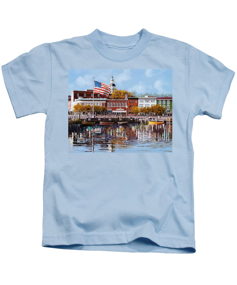 Annapolis Kids T-Shirt featuring the painting Annapolis by Guido Borelli