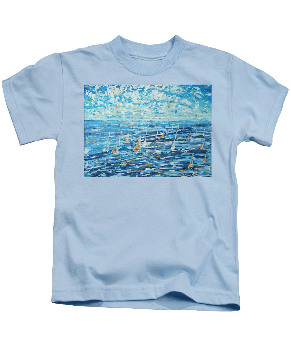 Antigua Kids T-Shirt featuring the painting Antigua Rorc Caribbean 600 by Pete Caswell