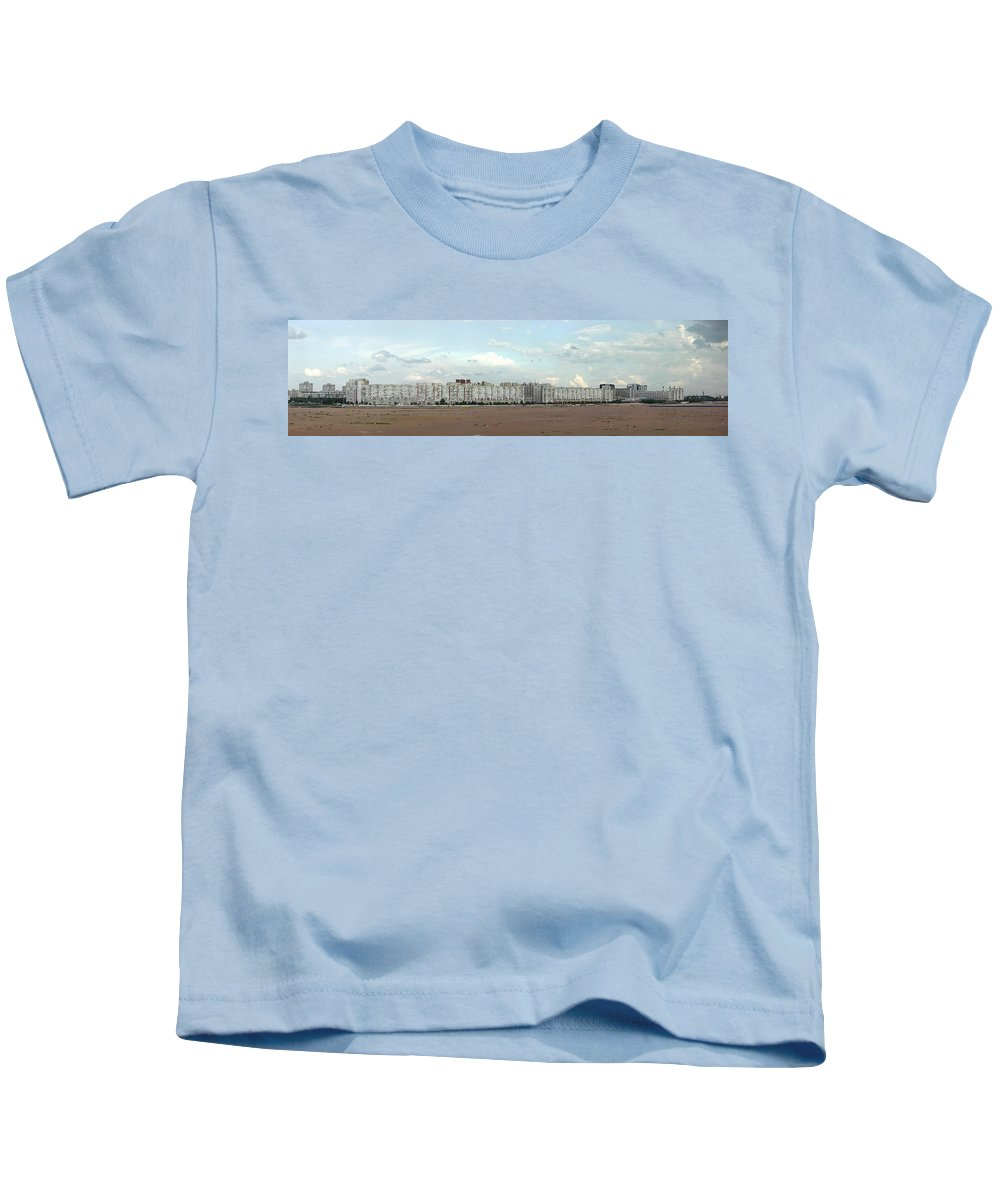 Photography Kids T-Shirt featuring the photograph Apartment Blocks At The Waterfront, St by Panoramic Images