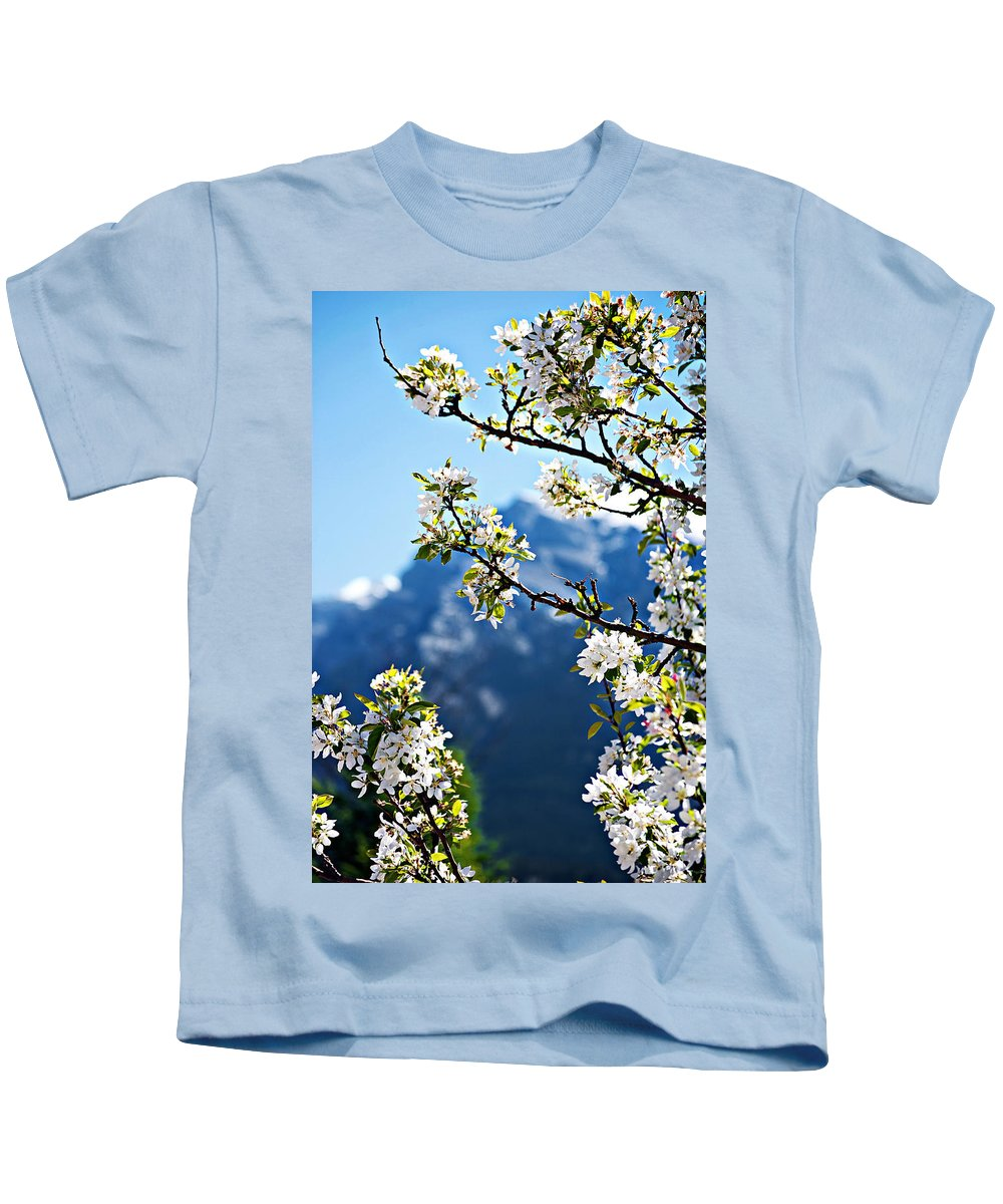 Apple Kids T-Shirt featuring the photograph Apple Blossoms Frame The Rockies by Lisa Knechtel