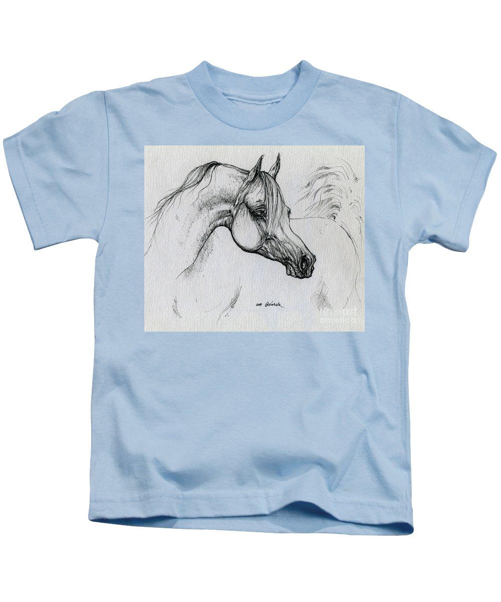 Horse Kids T-Shirt featuring the drawing Arabian Horse Drawing 28 by Angel Ciesniarska