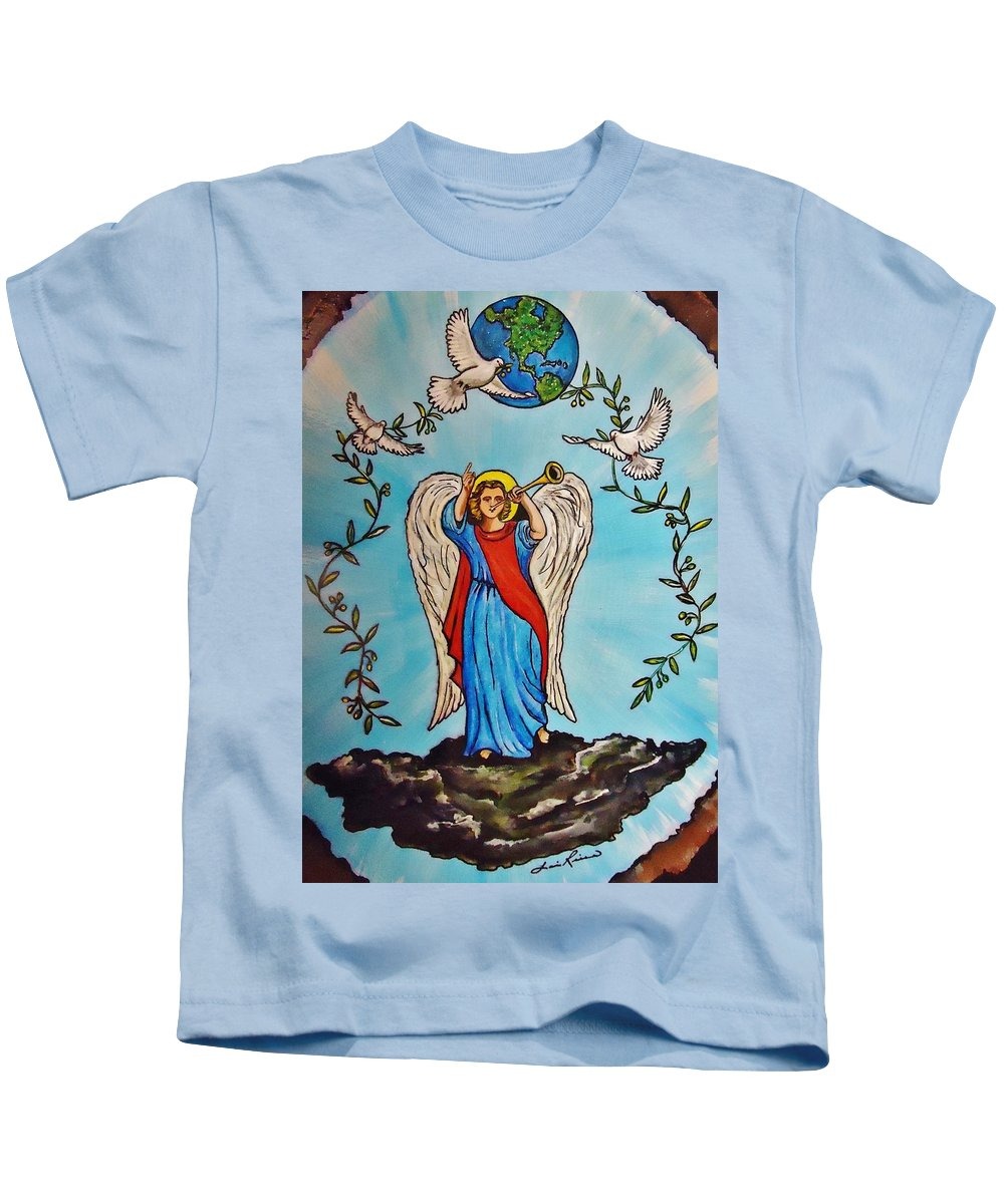 Angels Kids T-Shirt featuring the painting Archangel Gabriel by Lois  Rivera