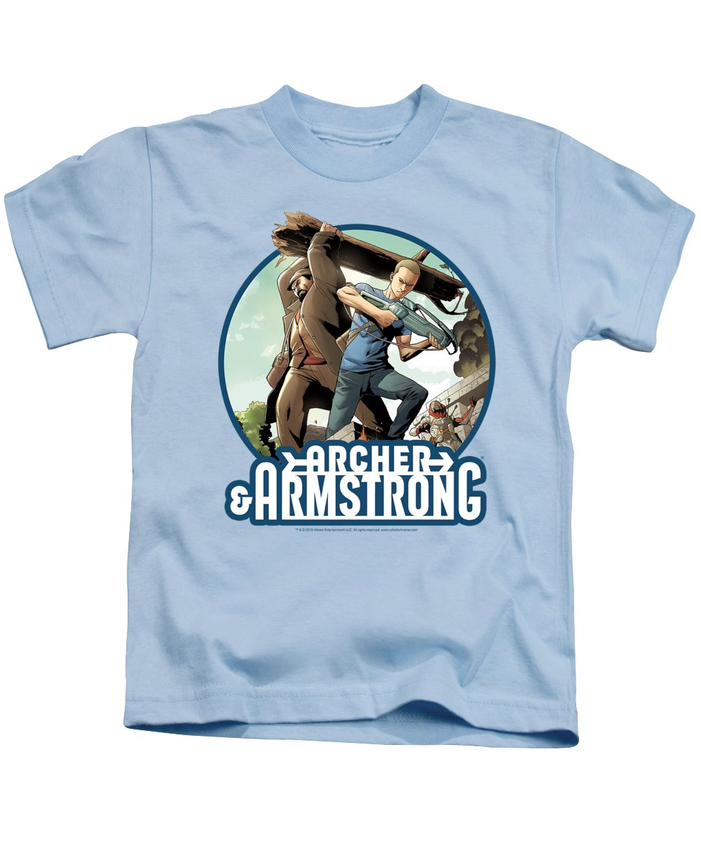 Kids T-Shirt featuring the digital art Archer And Armstrong - Trunk And Crossbow by Brand A