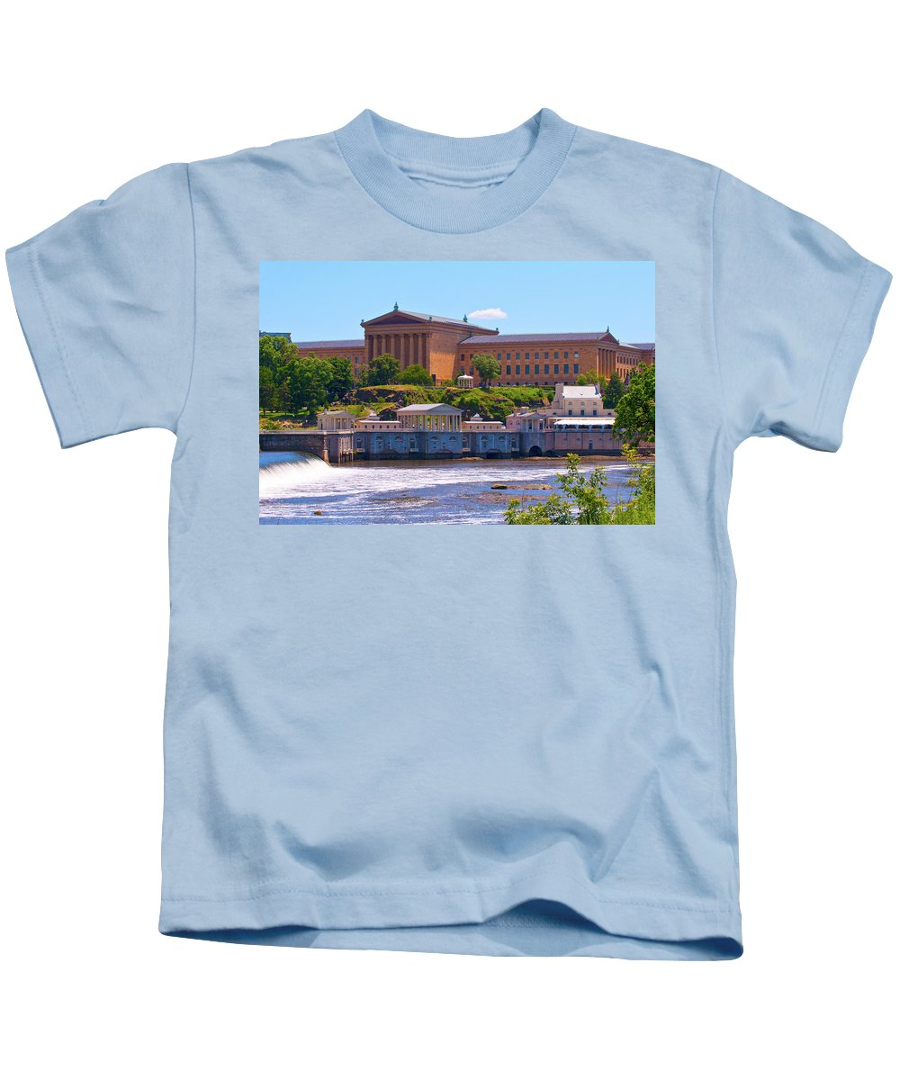 Architecture Kids T-Shirt featuring the photograph Art Museum And Fairmount Waterworks - Hdr by Lou Ford