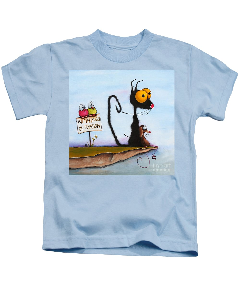 Cat Kids T-Shirt featuring the painting At The Edge Of Reason by Lucia Stewart