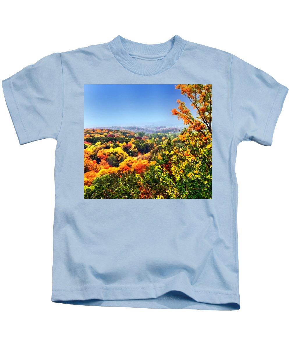 Autumn Kids T-Shirt featuring the photograph Autumn Across The Hills by Thomas Woolworth