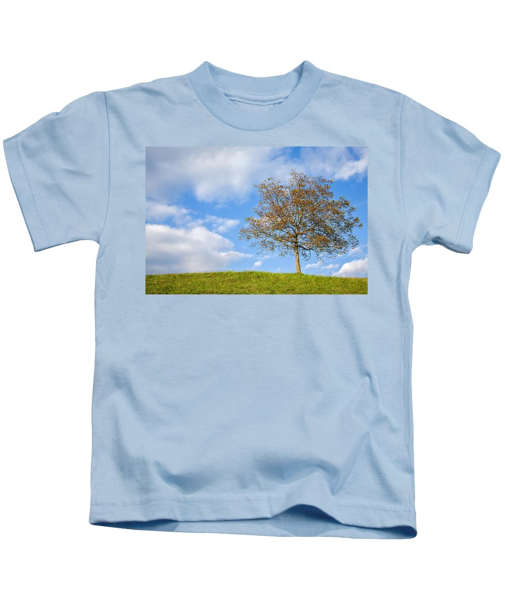 Tree Kids T-Shirt featuring the photograph Autumn Begins by Ian Middleton