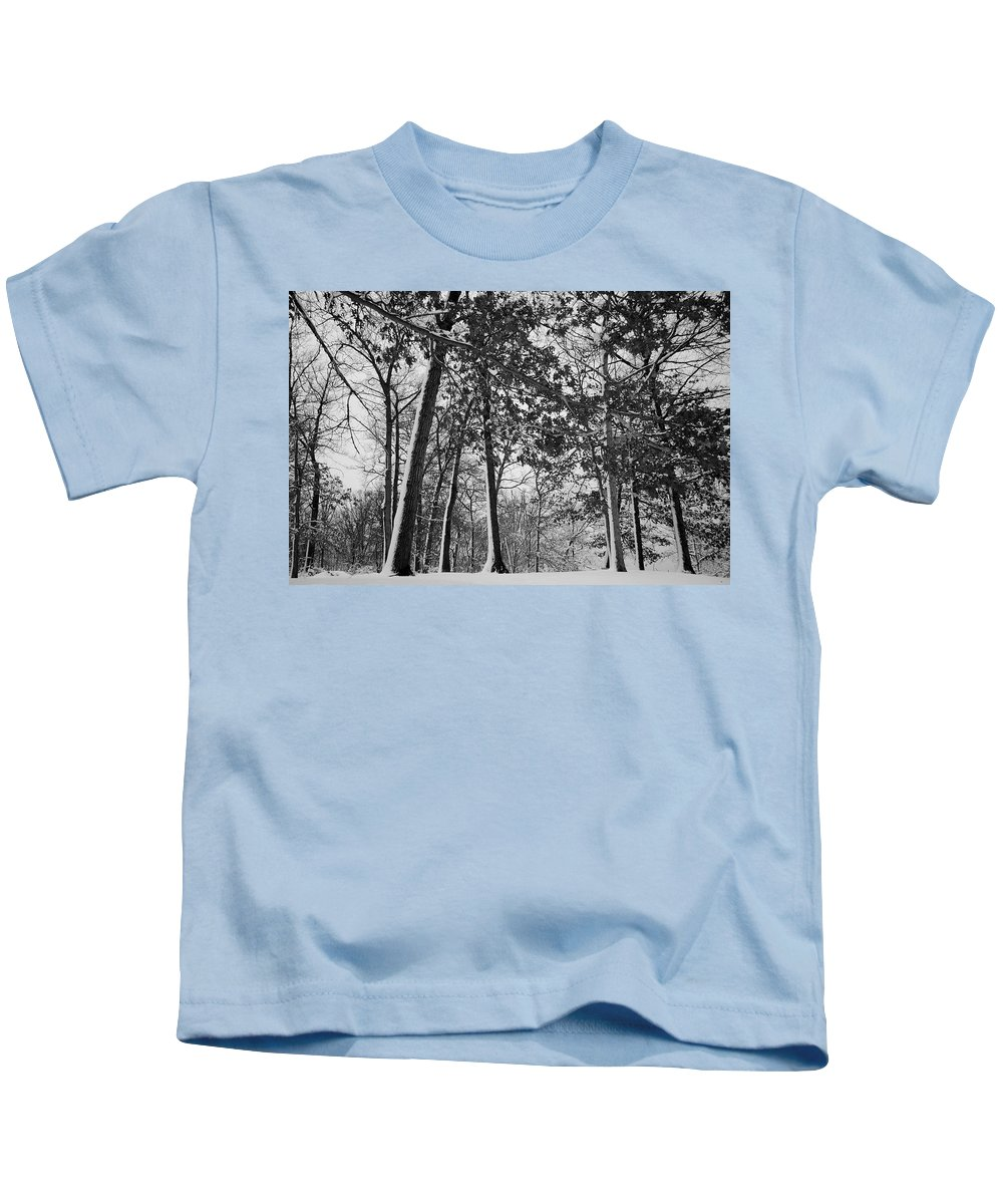 Autumn Kids T-Shirt featuring the photograph Autumn Snow by Frozen in Time Fine Art Photography