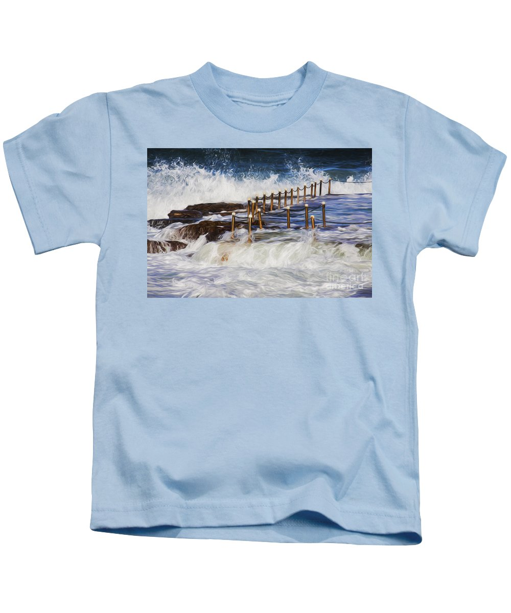 Avalon Kids T-Shirt featuring the photograph Avalon rockpool in a storm by Sheila Smart Fine Art Photography