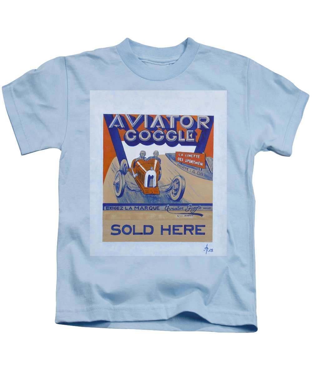 Automotive Kids T-Shirt featuring the painting Aviator Goggle Sold Here Poster by Anna Ruzsan