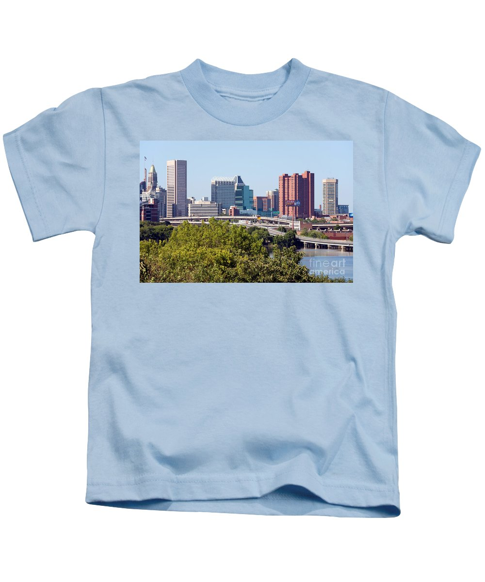 Baltimore Kids T-Shirt featuring the photograph Baltimore Skyline by Bill Cobb