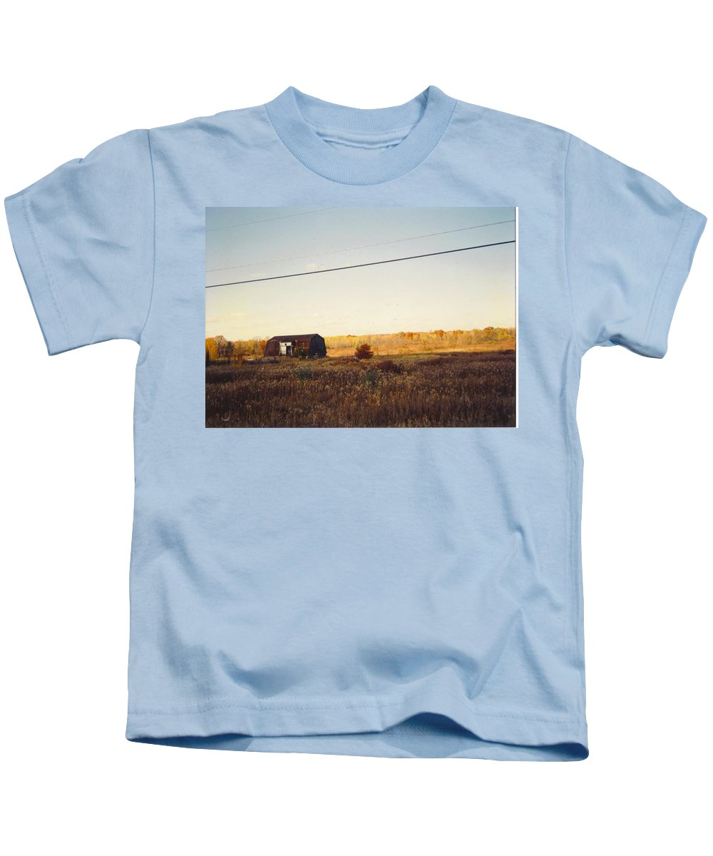 Michigan Barn And Wild Flowers Kids T-Shirt featuring the photograph Barn And Landscape by Robert Floyd