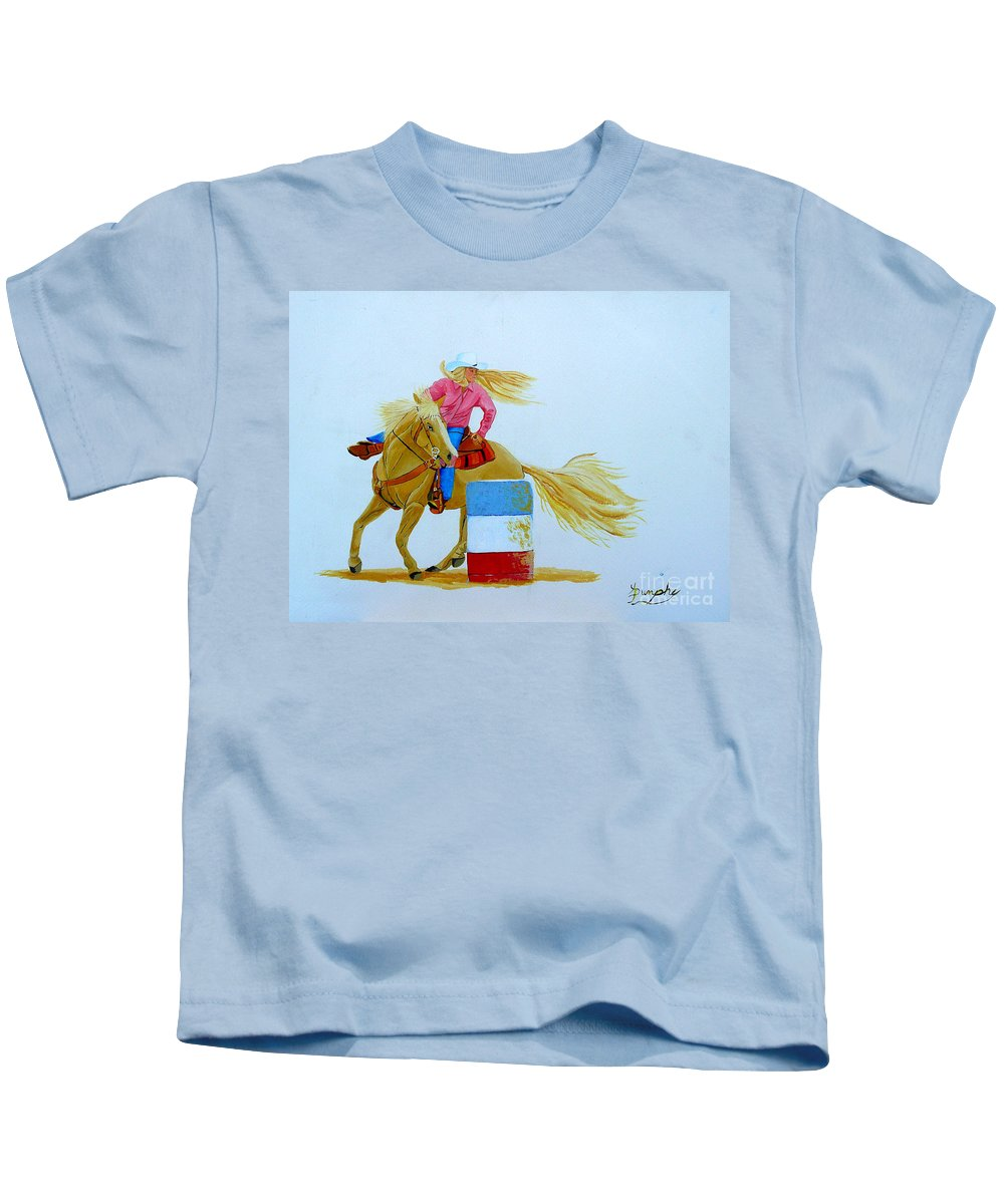 Rodeo Kids T-Shirt featuring the painting Barrel Racer by Anthony Dunphy