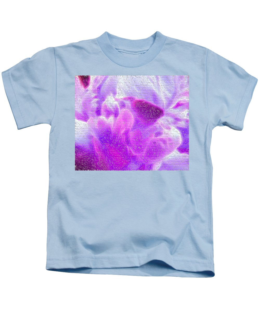 Flowers Kids T-Shirt featuring the digital art Bathed In Purple by Cathy Anderson