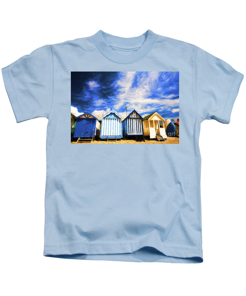 Beach Huts Kids T-Shirt featuring the photograph Beach huts at Southend by Sheila Smart Fine Art Photography