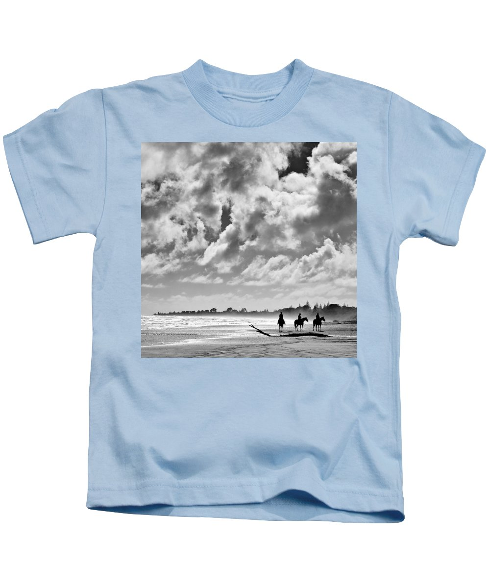 Ride Kids T-Shirt featuring the photograph Beach Riders by Dave Bowman
