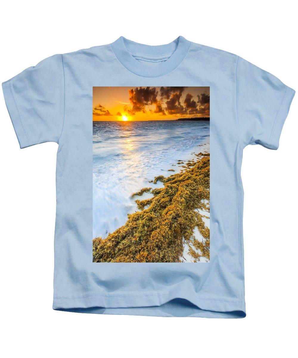 Clouds Kids T-Shirt featuring the photograph Beach Sunrise by Sebastian Musial