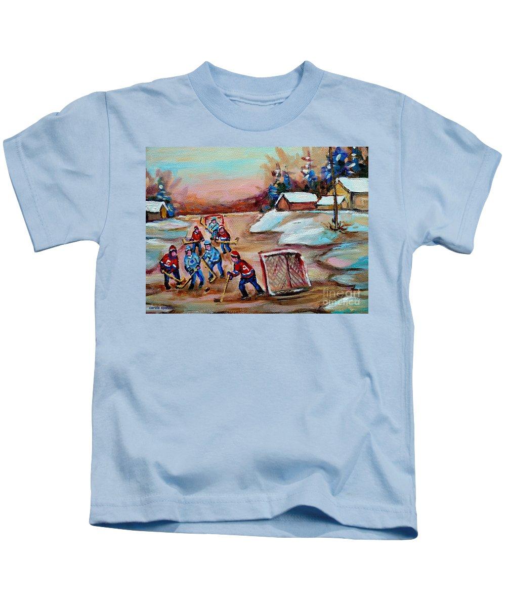 Pond Hockey Kids T-Shirt featuring the painting Beautiful Day-pond Hockey-hockey Game-canadian Landscape-winter Scenes-carole Spandau by Carole Spandau