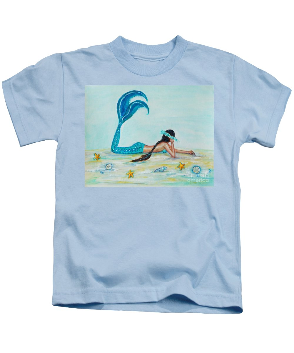 Mermaid Kids T-Shirt featuring the painting Beautiful Dreamer by Leslie Allen
