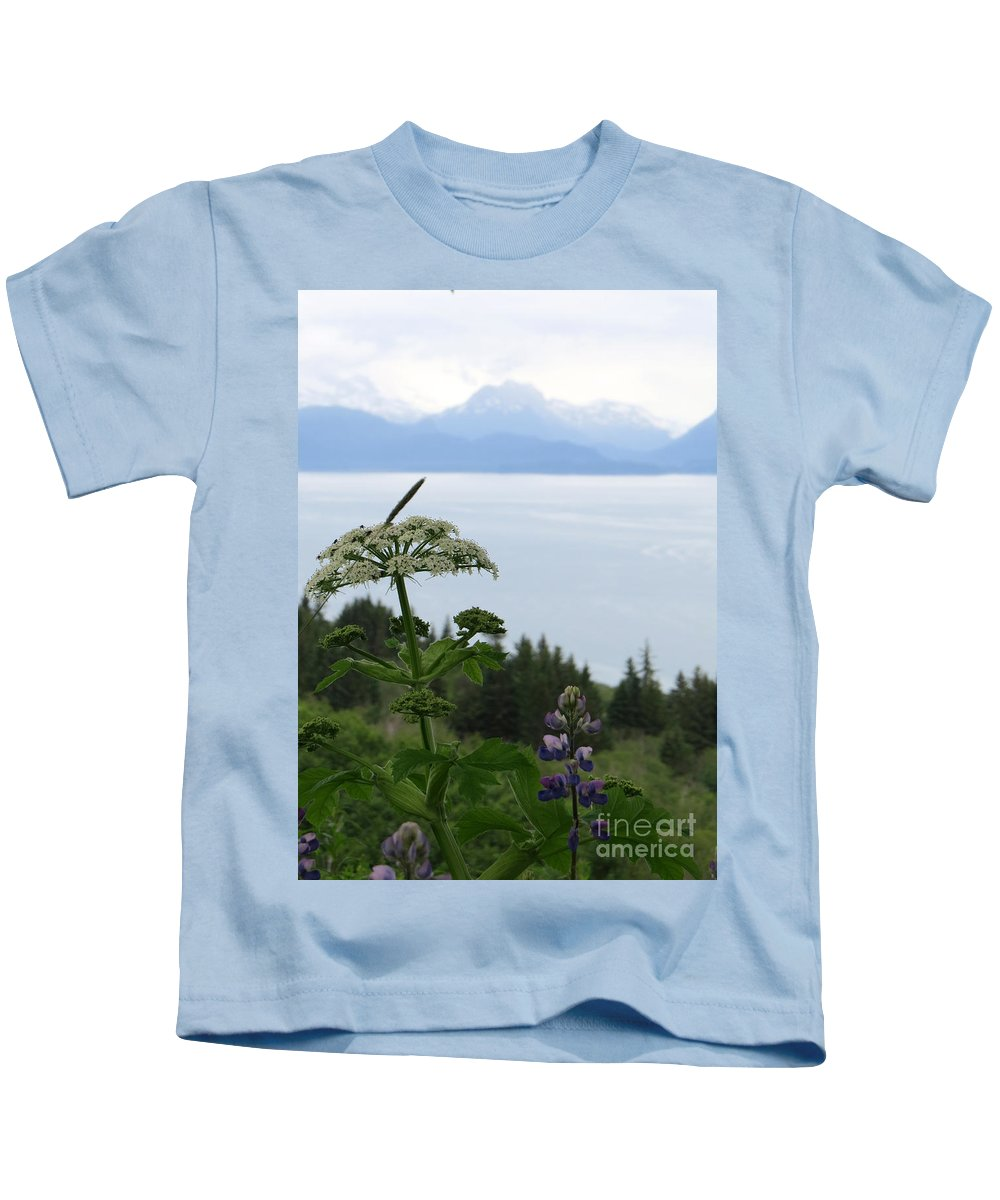 Lupines Kids T-Shirt featuring the photograph Beauty As Far As The Eye Can Sea by Stacey May
