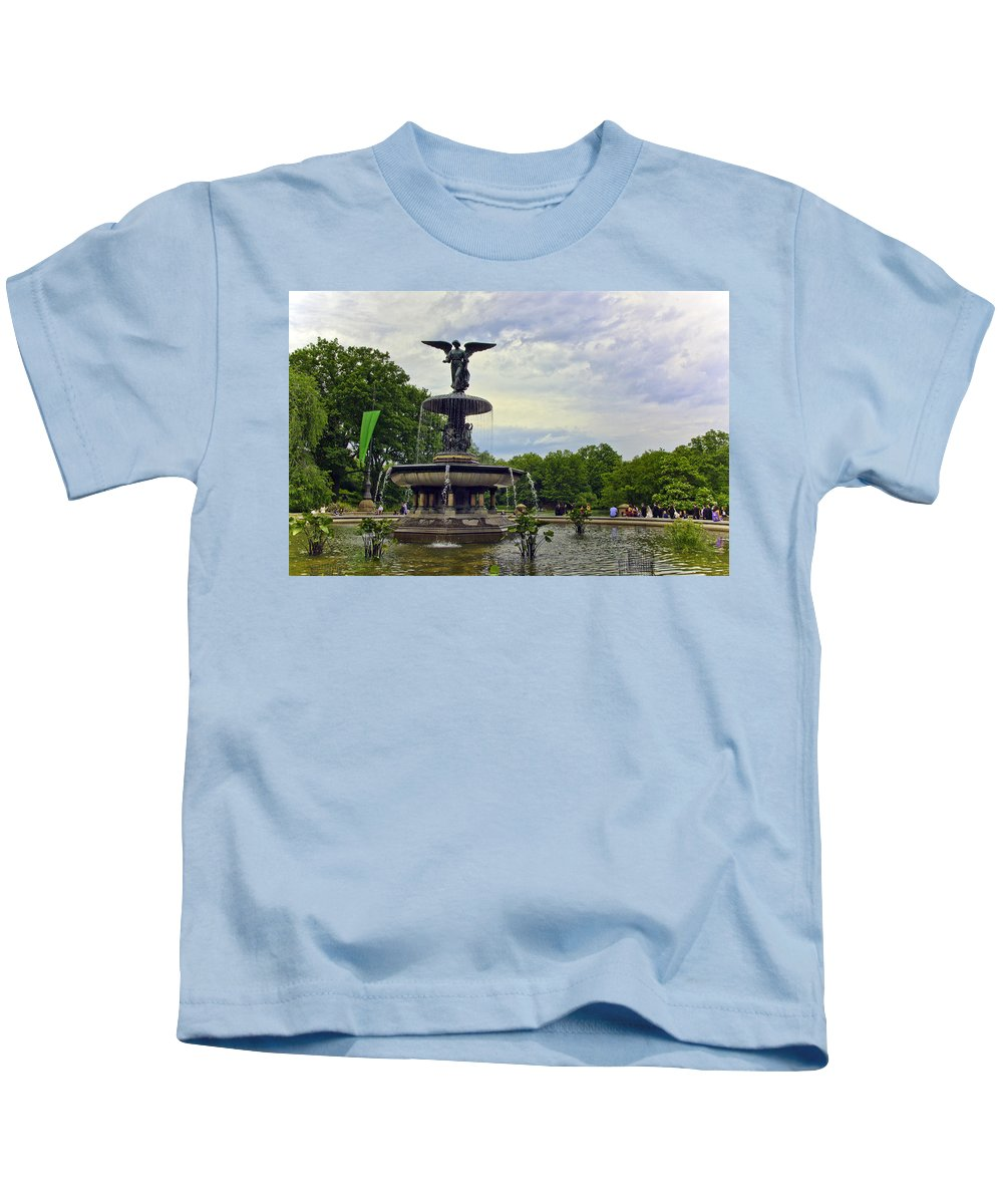 Bethesda Fountain Kids T-Shirt featuring the photograph Bethesda Fountain II by Madeline Ellis