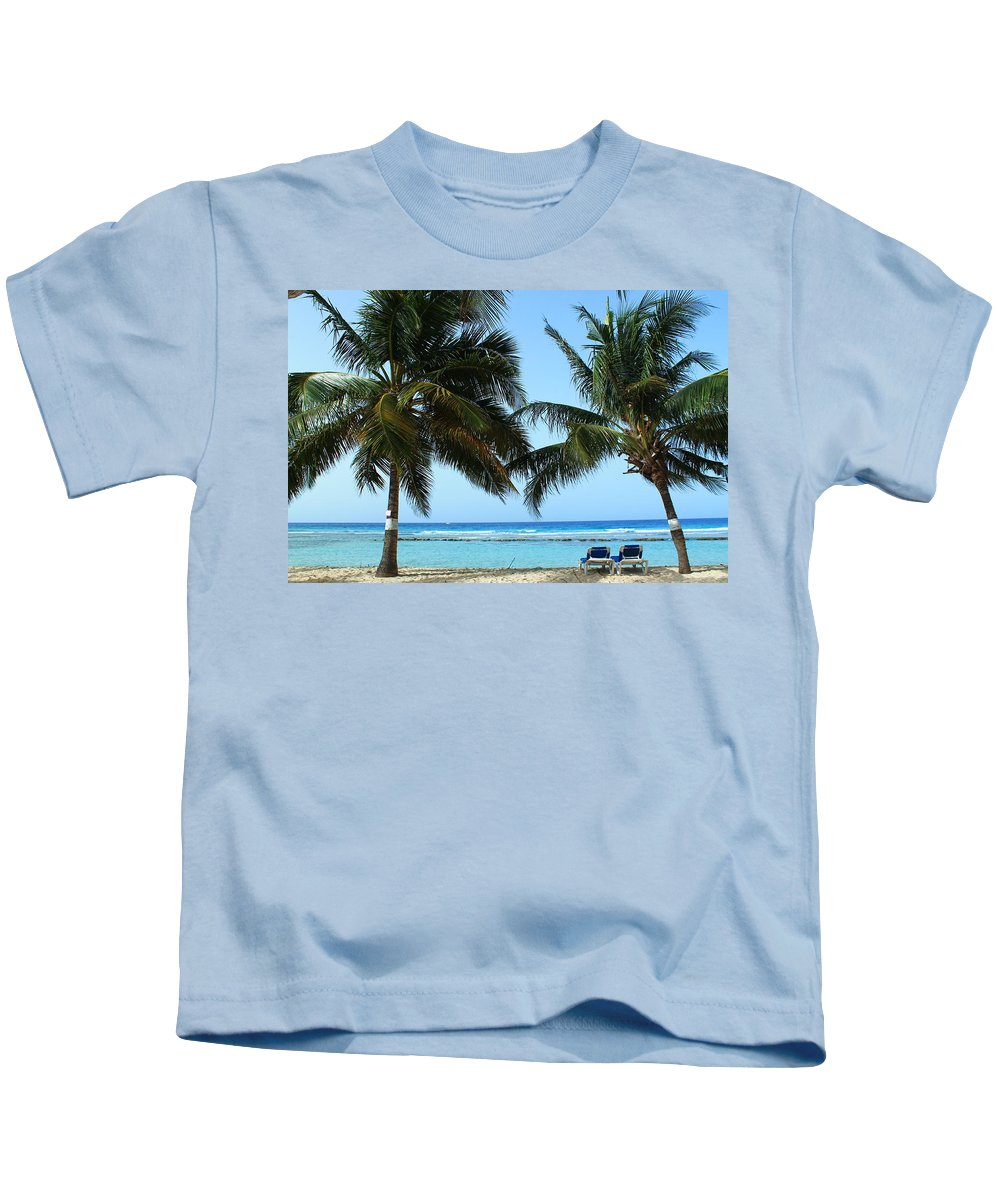 Barbados Kids T-Shirt featuring the photograph Between The Palms by Catie Canetti