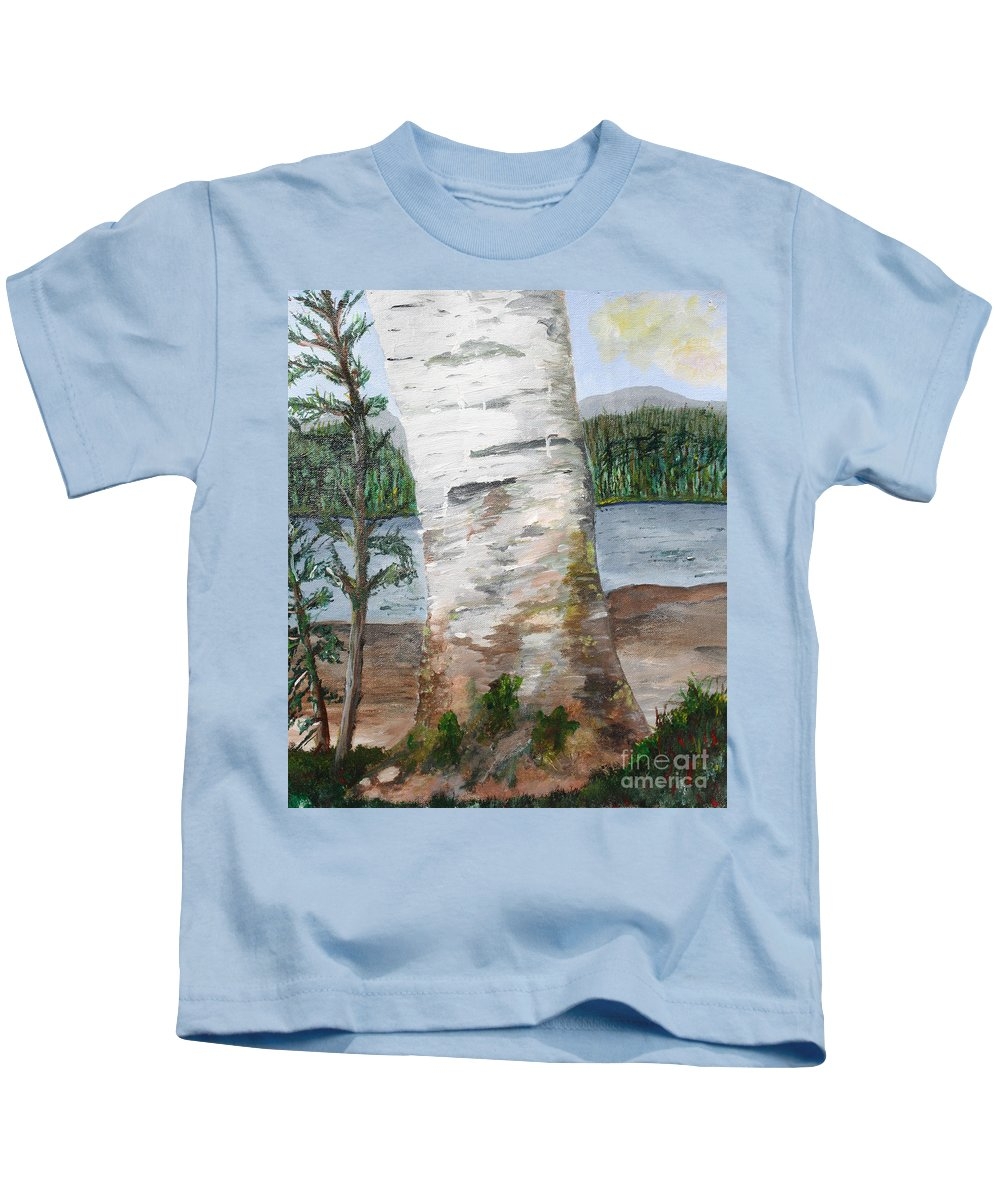 Birch Kids T-Shirt featuring the painting Birch by Christine Dekkers