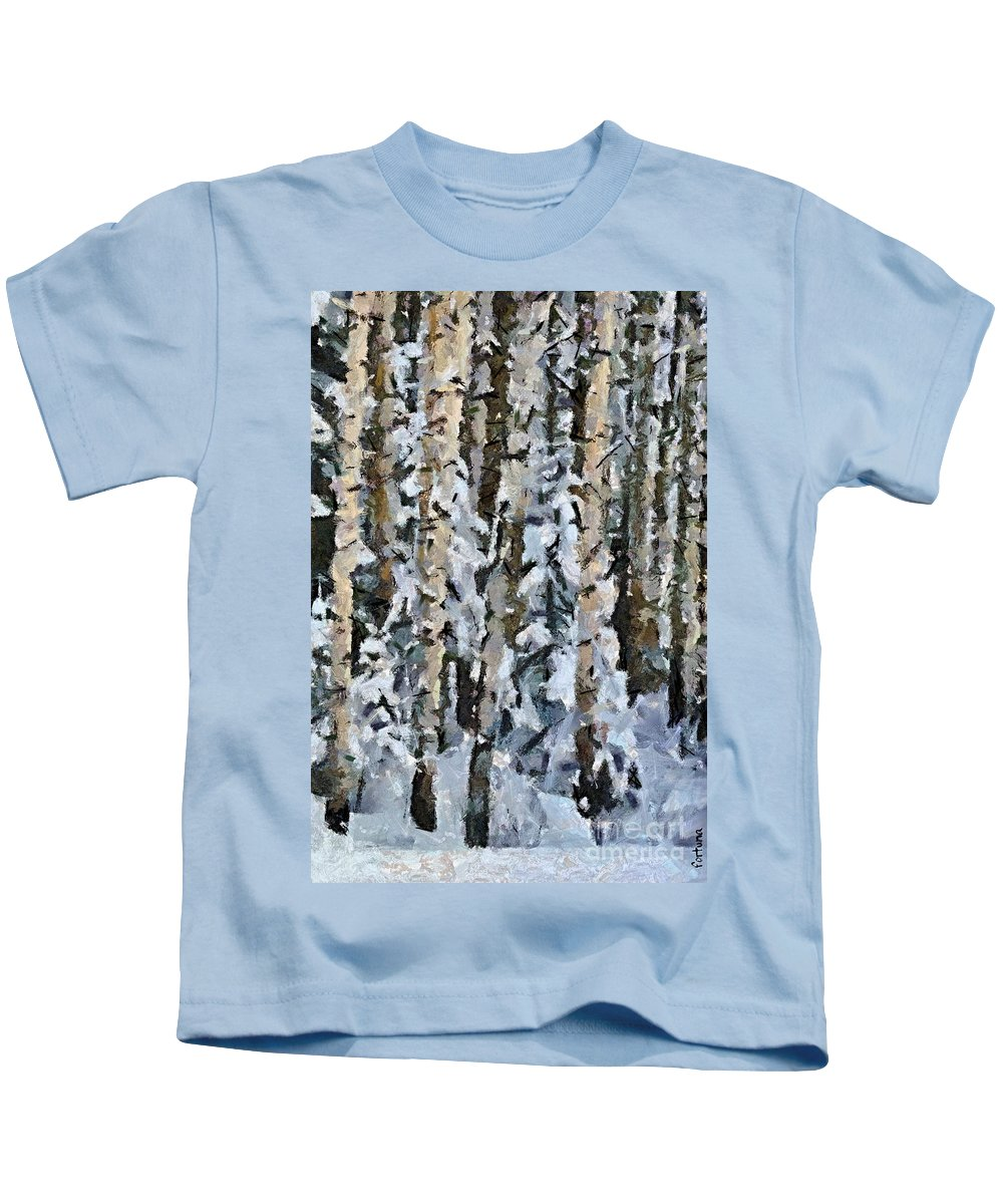 Season Kids T-Shirt featuring the painting Birches In The Winter by Dragica Micki Fortuna
