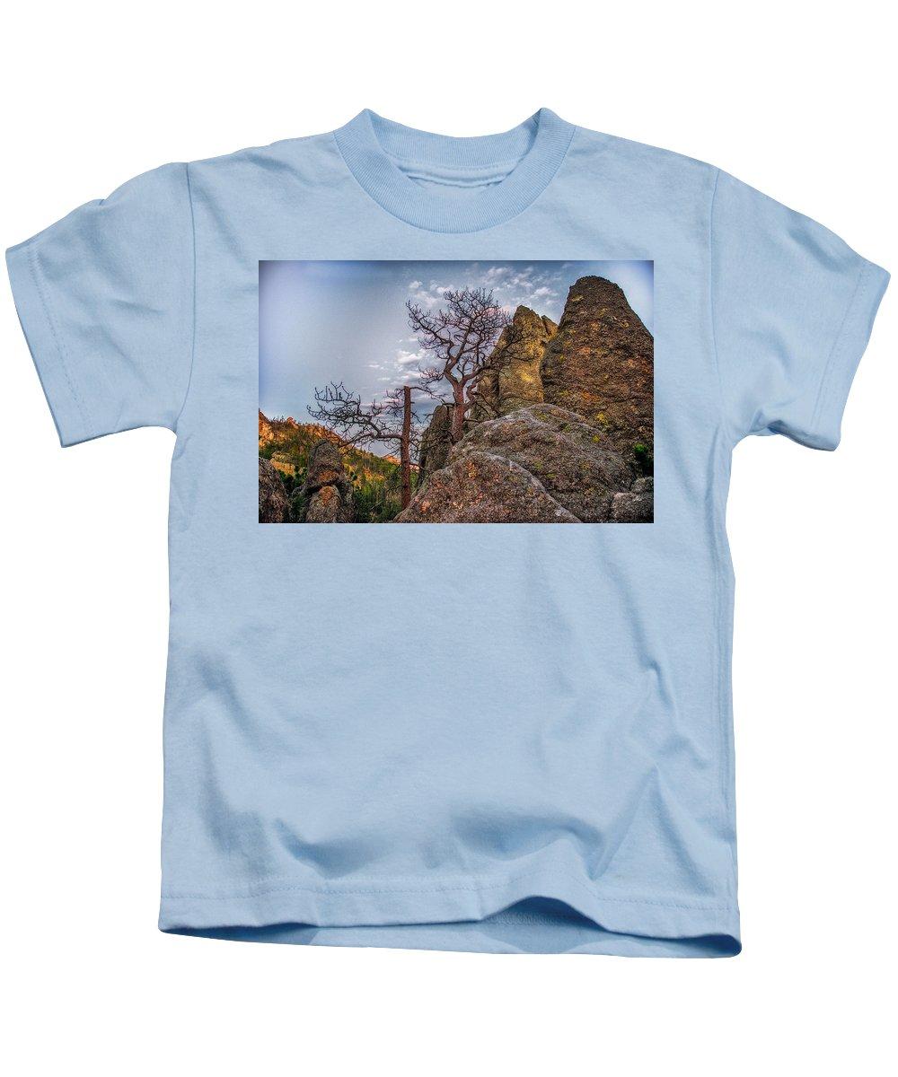 Mountain Kids T-Shirt featuring the photograph Black Hills Boulders by Paul Freidlund