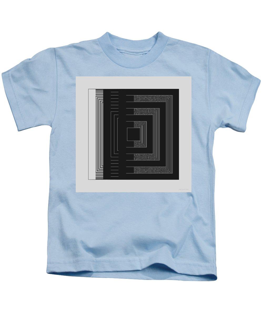 Geometric Kids T-Shirt featuring the digital art Black White Gray Square Geometric by Judi Suni Hall