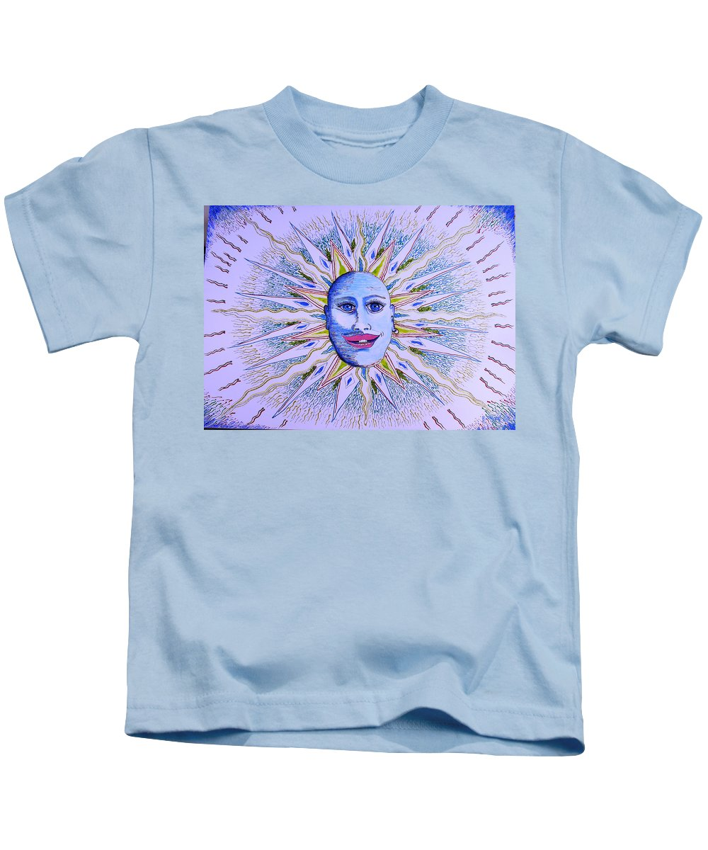 Kids T-Shirt featuring the painting Blu Glitter Sun by Ru Tover