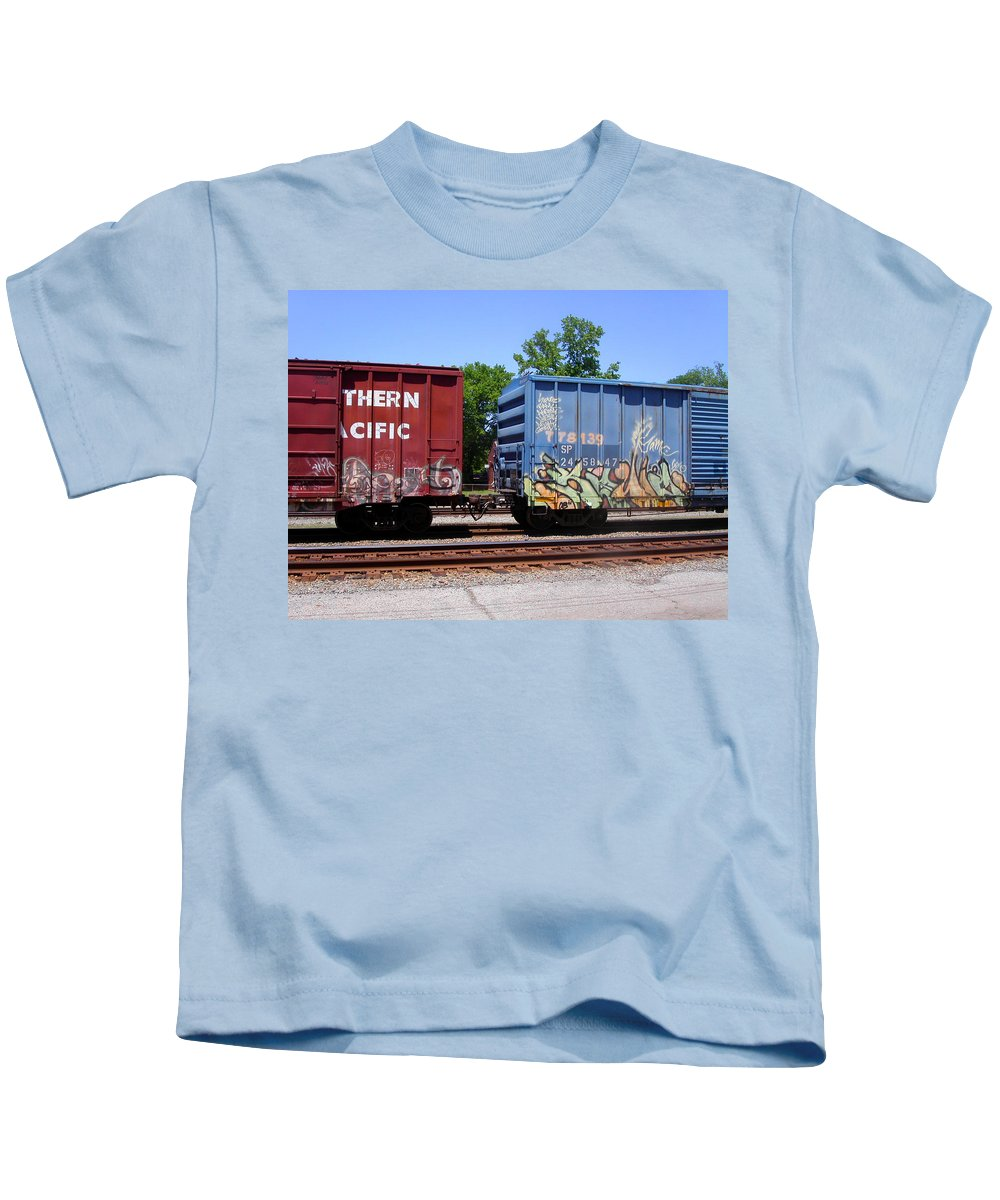 Train Kids T-Shirt featuring the photograph Blue And Red by Anne Cameron Cutri