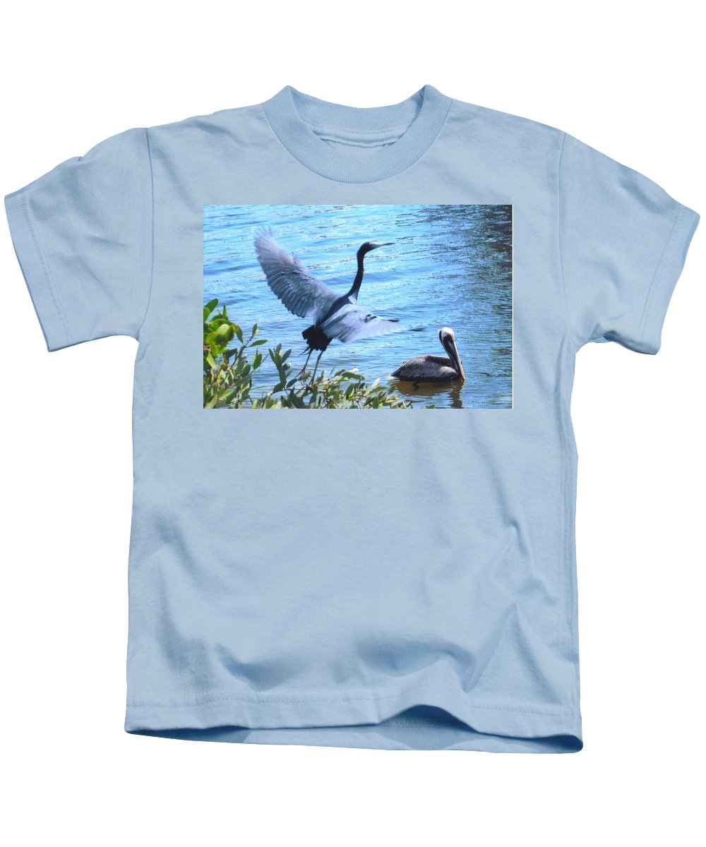 Taking Flight Kids T-Shirt featuring the photograph Blue Heron And Pelican by Robert Floyd