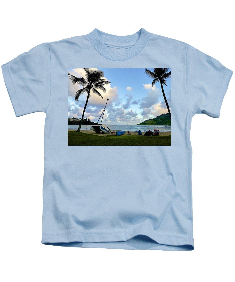Beaches Kids T-Shirt featuring the photograph Blue Hour At Kalapaki Beach by Barbara Zahno