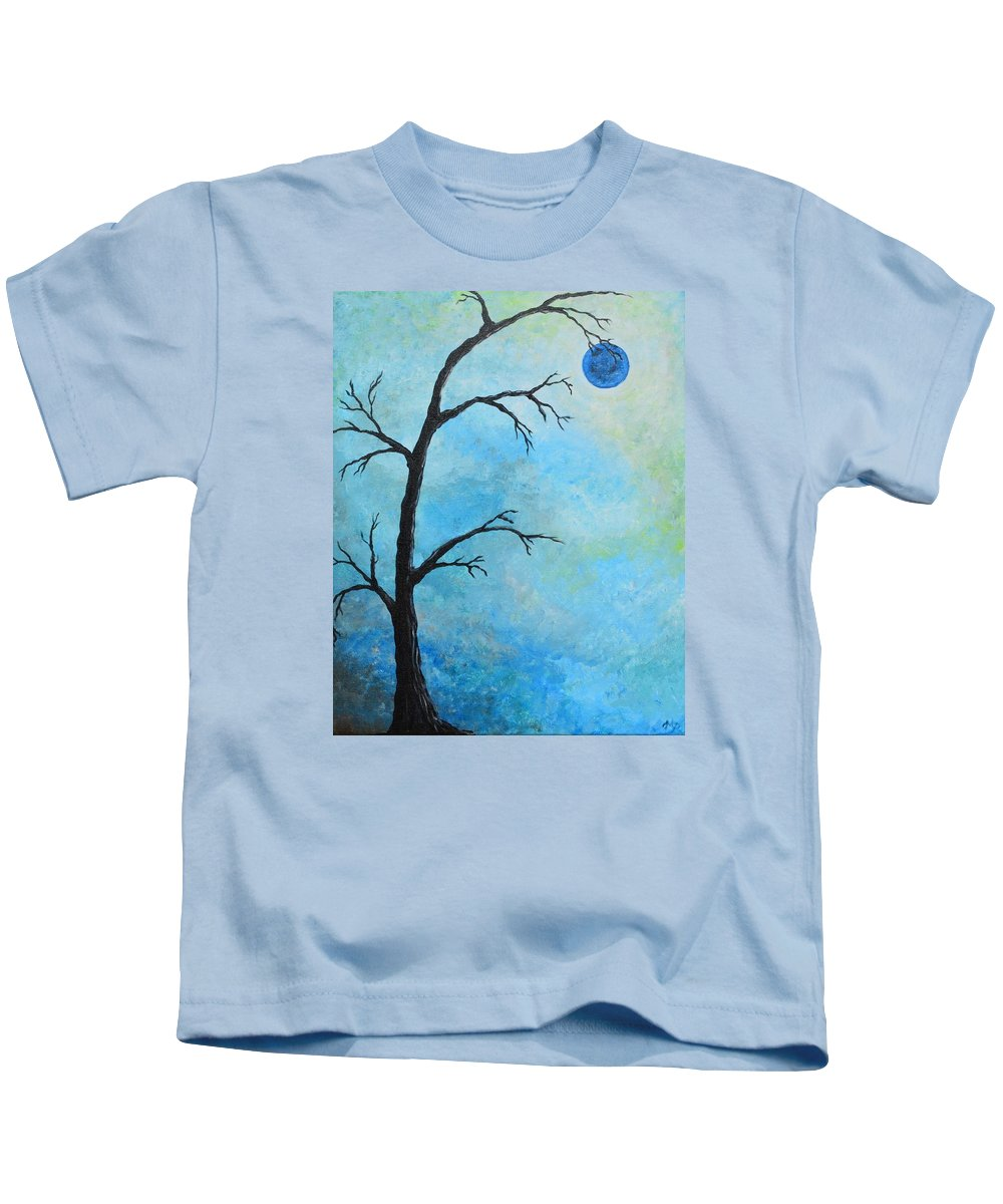 Tree Kids T-Shirt featuring the painting Blue Moon by Meganne Peck