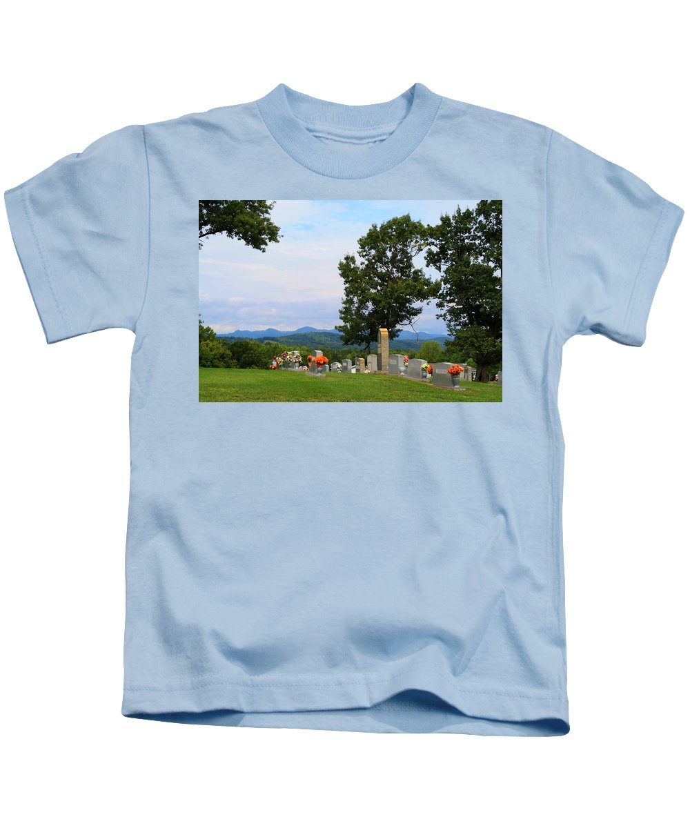Blue Ridge Kids T-Shirt featuring the photograph Blue Ridge Mountain Cemetery by Kathryn Meyer