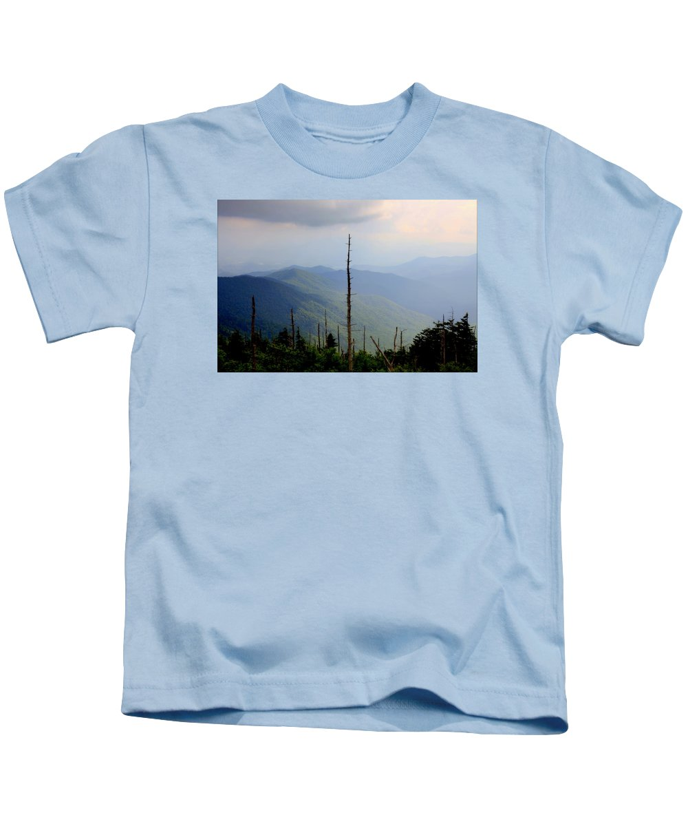 Blue Ridge Mountains Kids T-Shirt featuring the photograph Blue Ridge Mountains by Karen Wiles