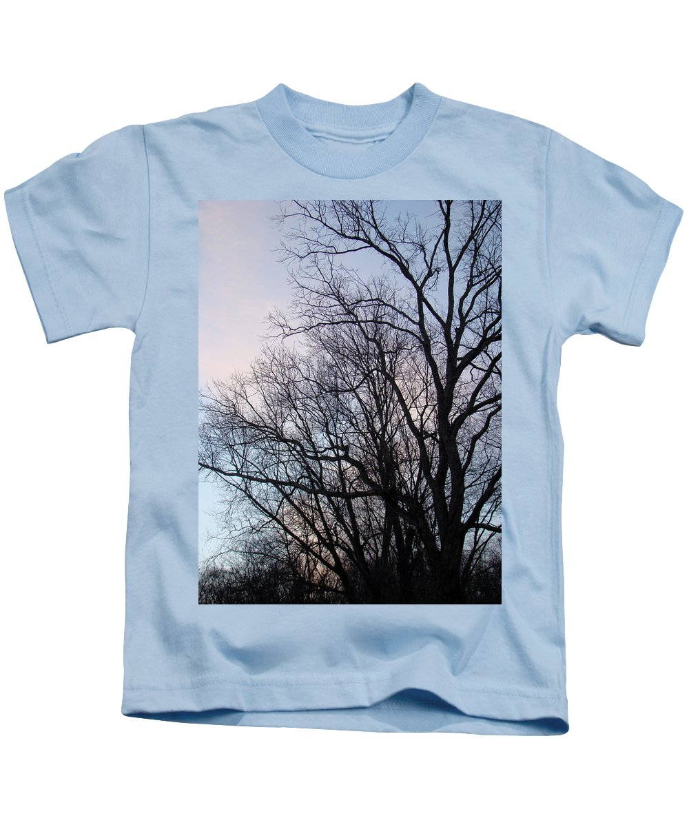 Trees Kids T-Shirt featuring the photograph Blue Sunset by Mother Nature