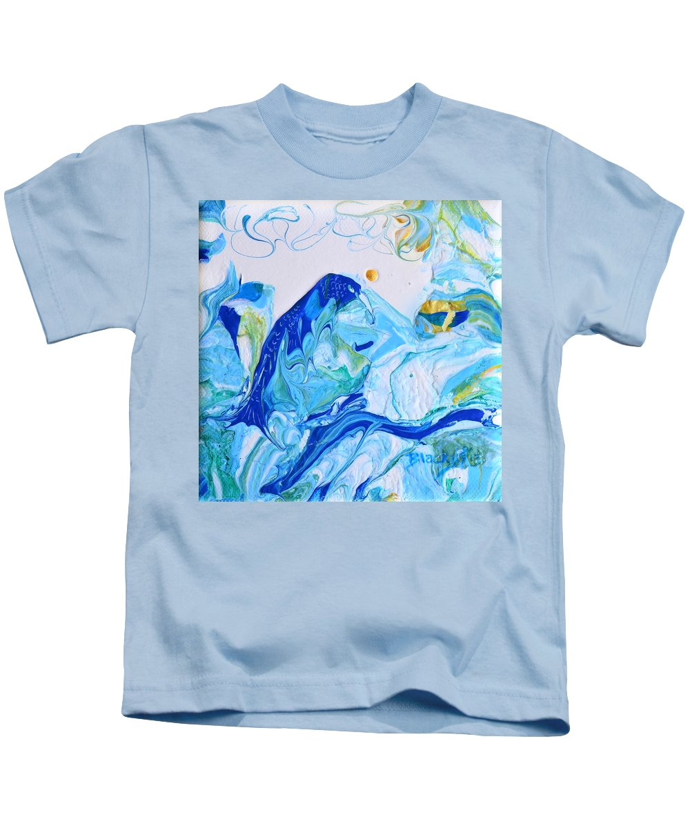Blue Bird Kids T-Shirt featuring the painting Bluebird Of Tomorrow by Donna Blackhall