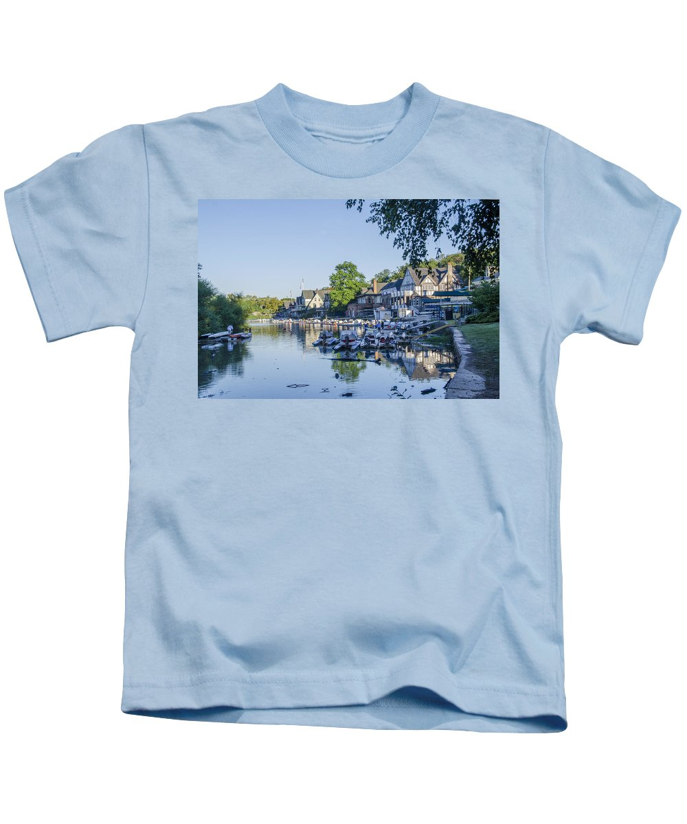 Boathouse Kids T-Shirt featuring the photograph Boathouse Row In September by Bill Cannon