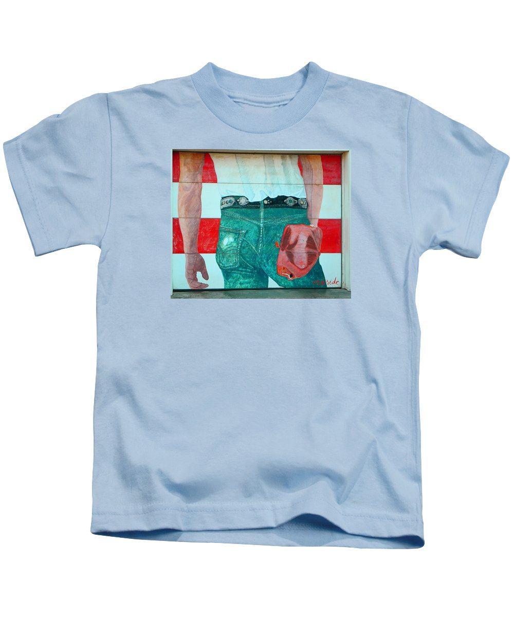 Urban Kids T-Shirt featuring the photograph Born In The Usa Urban Garage Door Mural by Chris Berry