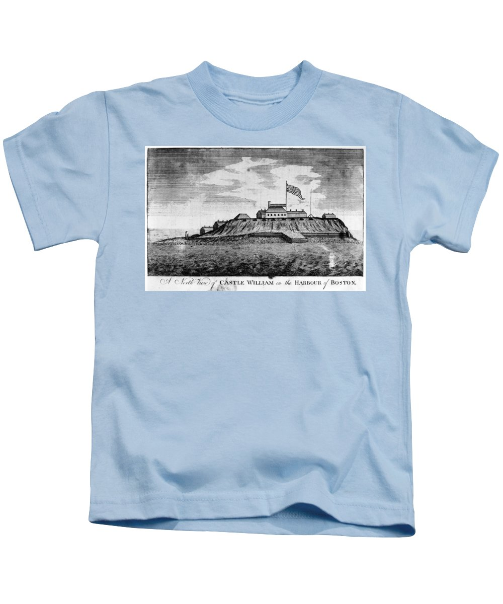 1789 Kids T-Shirt featuring the photograph Boston: Castle William by Granger