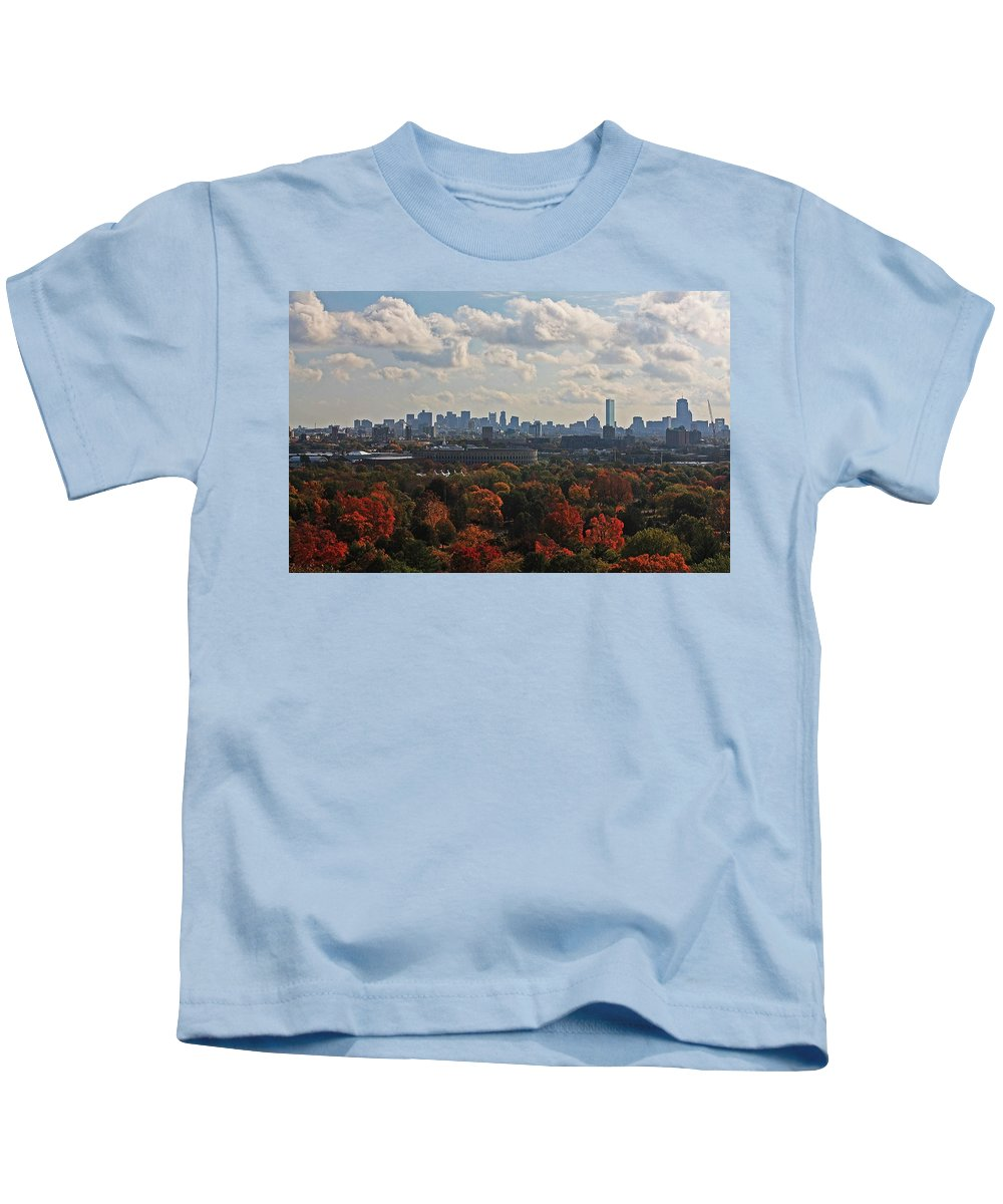 Mt Auburn Cemetery Kids T-Shirt featuring the photograph Boston Skyline View From Mt Auburn Cemetery by Michael Saunders