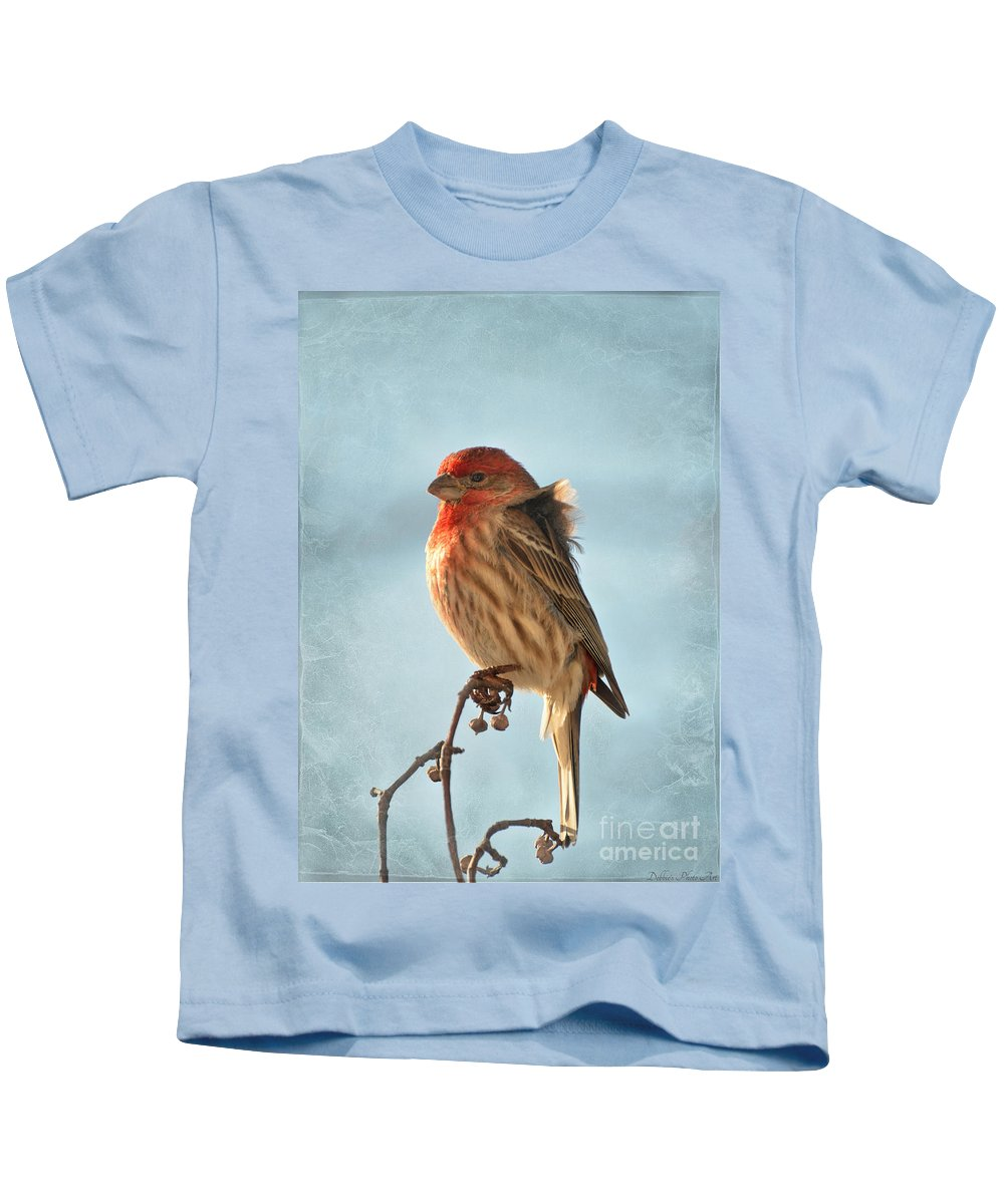 Nature Kids T-Shirt featuring the photograph Breezy Morning Housefinch by Debbie Portwood