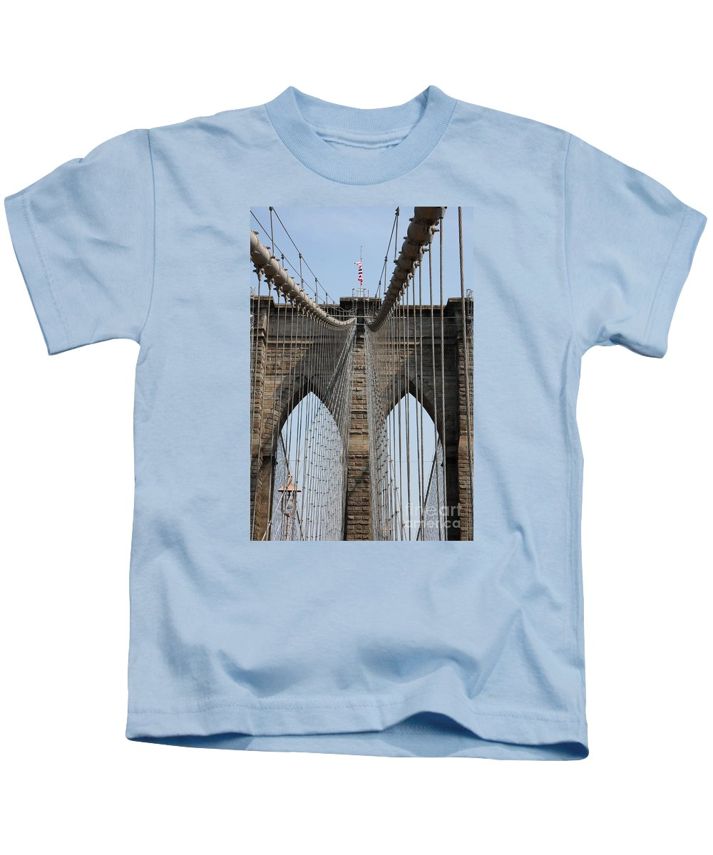 Bridge Kids T-Shirt featuring the photograph Brooklyn Bridge Cables Nyc by Christiane Schulze Art And Photography
