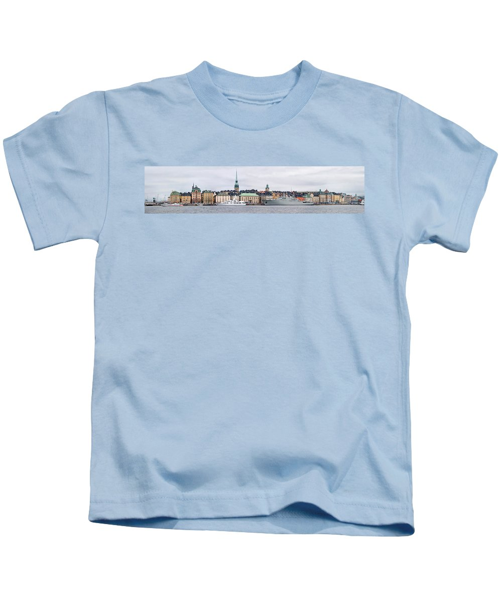 Photography Kids T-Shirt featuring the photograph Buildings At The Waterfront, Gamla by Panoramic Images