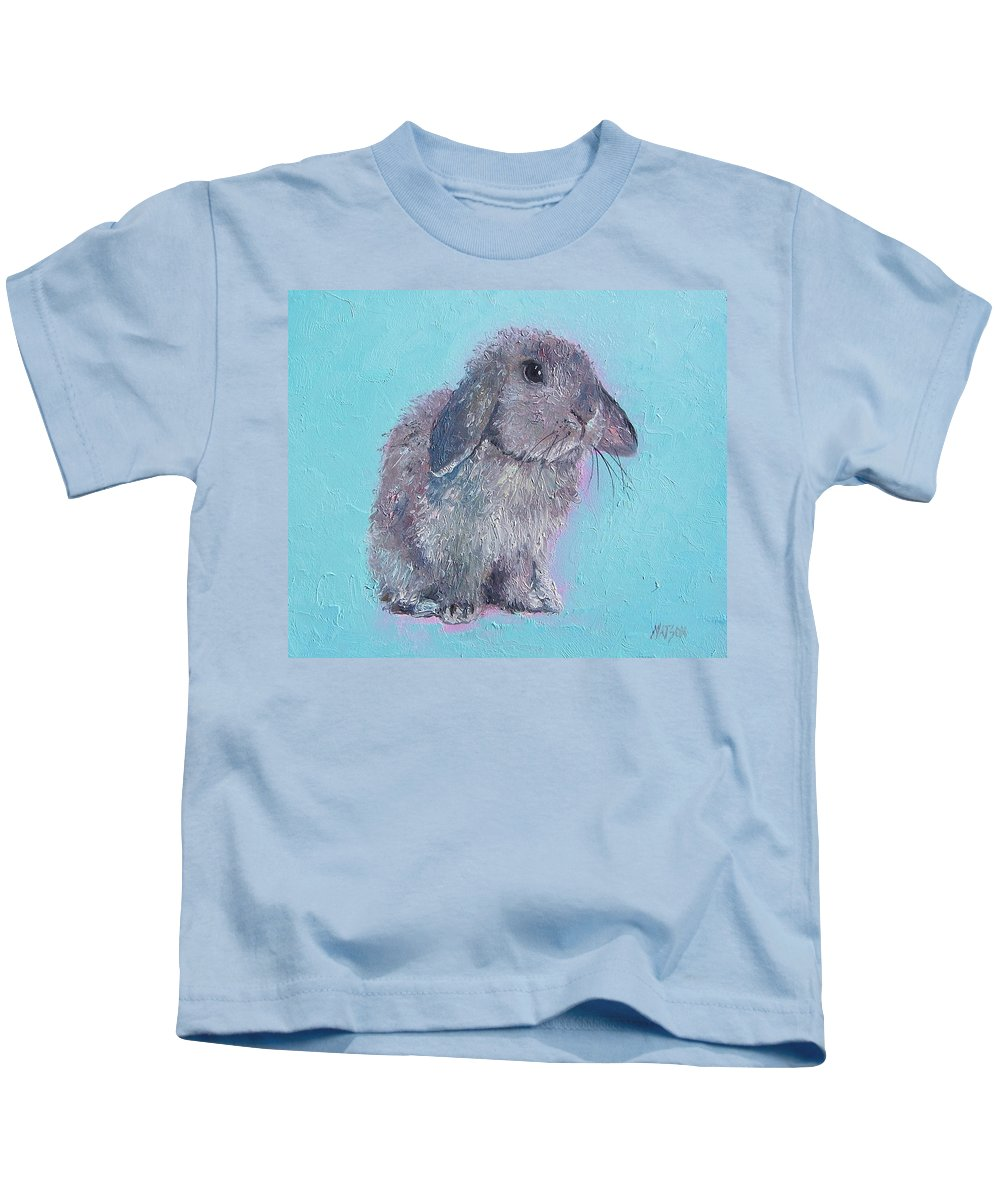 Rabbit Kids T-Shirt featuring the painting Bunny Rabbit by Jan Matson