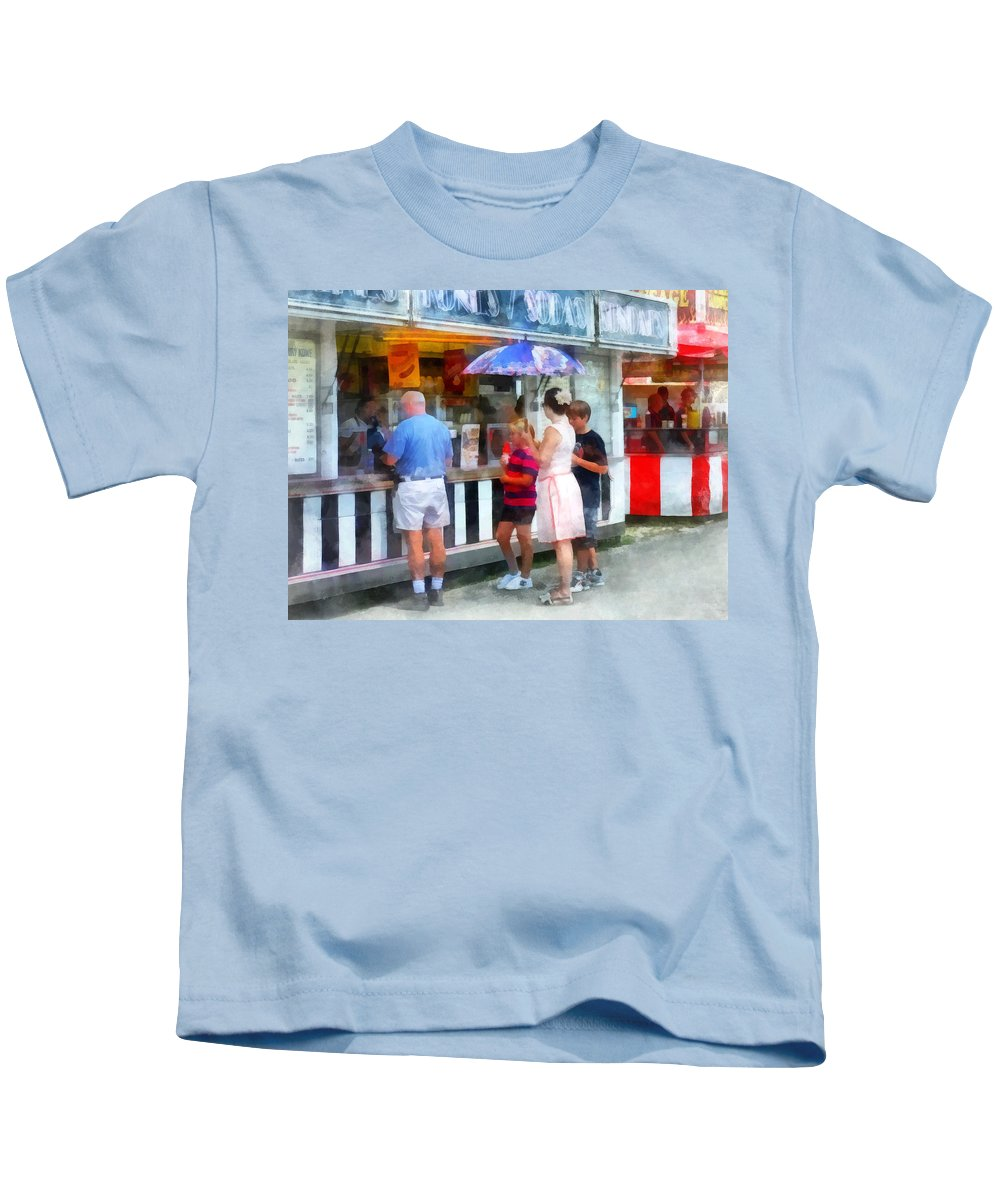 Fair Kids T-Shirt featuring the photograph Buying Ice Cream At The Fair by Susan Savad