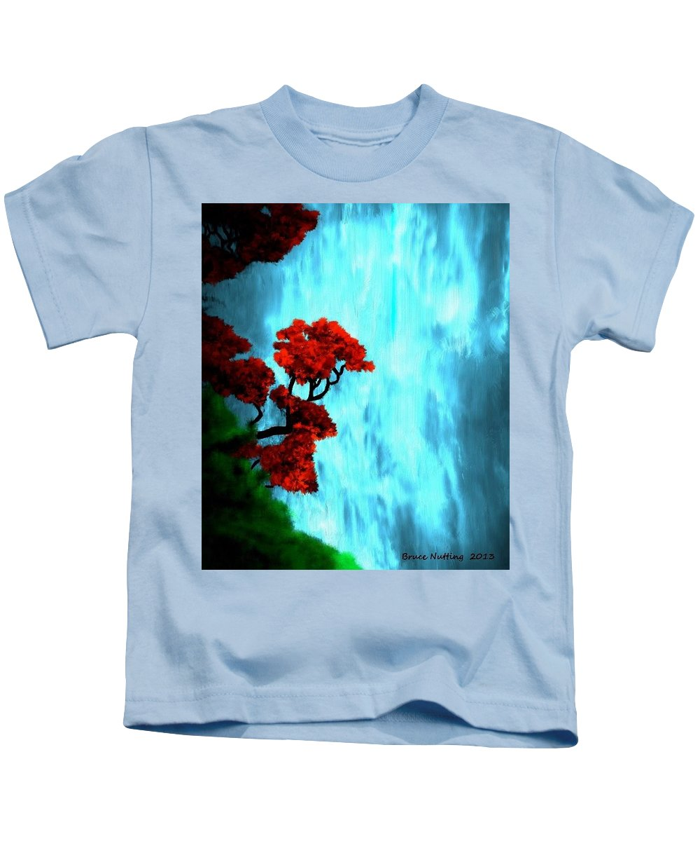 Waterfalls Kids T-Shirt featuring the painting By The Waterfalls by Bruce Nutting