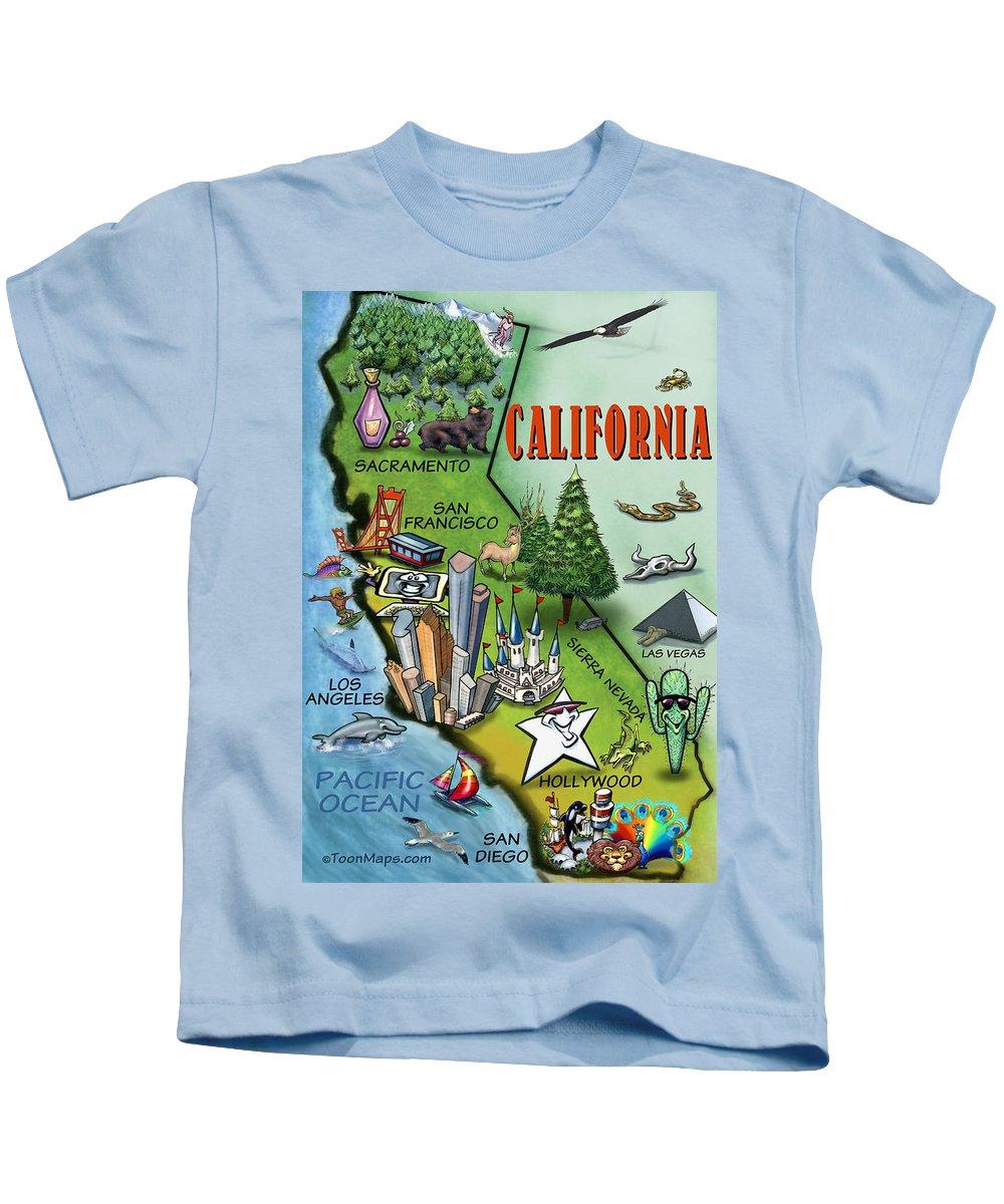 California Kids T-Shirt featuring the digital art California Cartoon Map by Kevin Middleton